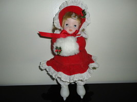 Musical Moving Wind Up Porcelain DOLL Victorian Christmas Skater - $115.89