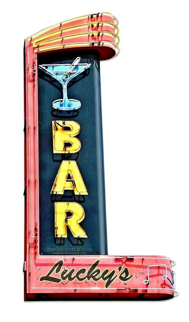 "Primary image for 18"" Lucky's Martini Bar Live lounge music Bar Neon Style in Steel USA Metal Sign"