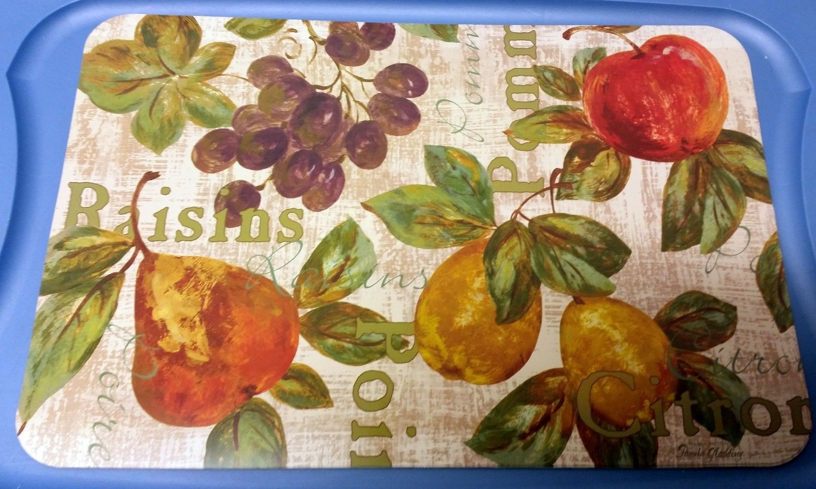 "Primary image for Set of 4 same non clear plastic PLACEMATS 18"" x 12"", RAISINS & FRUITS"