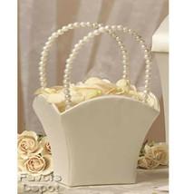 Ivory Flower Girl Basket Pearl Handle Wedding Flower Girl Basket - $8.50