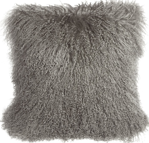 Pillow Decor - Mongolian Sheepskin Gray Throw Pillow