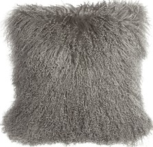 Pillow Decor - Mongolian Sheepskin Gray Throw Pillow - $74.95