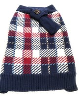Dog Sweater Size XXXL 3XL Pet Puppy Apparel Blue Red White Squares Scarf... - $16.03