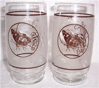 """Vintage (2) Paraglazed & Signed """"Butterfly"""" Designed Tumbler Glasses Japan"""