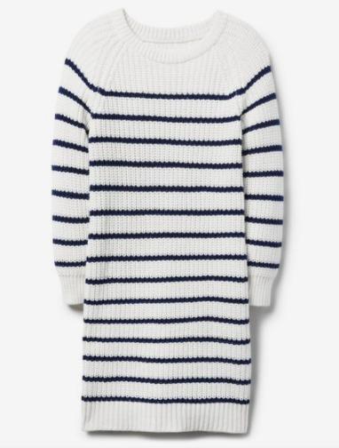 Girl White Stripe Sweater Dress by Crazy 8  -Striped white/navy XS size (4) NWT.