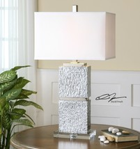 "XXL 31"" TEXTURED MODERN METALLIC SILVER TABLE BUFFET LAMP CRYSTAL BASE U... - $270.60"