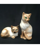 Vintage Siamese Cat Green Eyes Salt And Pepper Shaker Set - $17.82