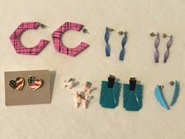 Vintage Womens Mod 80s Earring Lot Retro Plastic 7 Pairs of Earrings - $23.99