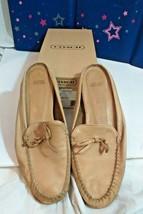 Coach Nadia Pebbled Leather Camel slides Size 9.5 M Flat SLIDE Loafer ta... - $59.38