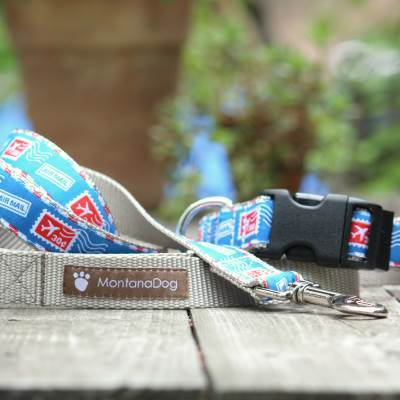 Airmail Jacquard Dog Leash (120cm, 4ft.) / Made in Japan