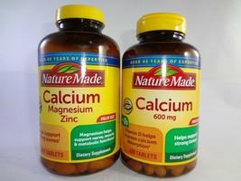 Nature Made Calcium Magnesium Zinc Tablets 300ct + Calcium 600mg w/Vitam... - $31.63