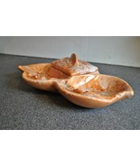 Vintage Mid Century Orange Ceramic Ashtray with Lidded Compartment - $28.04