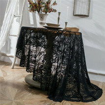 Round White Black Flower Lace Embroidery Tablecloth Halloween Party Deco... - £13.46 GBP+