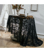 Round White Black Flower Lace Embroidery Tablecloth Halloween Party Deco... - $16.66+