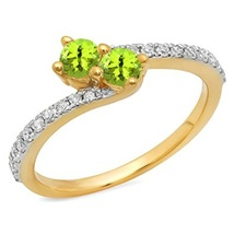 2 Ct Forever Us Two Stone Round Green Peridot & CZ Diamond Ring 14K Yellow GP - $89.99