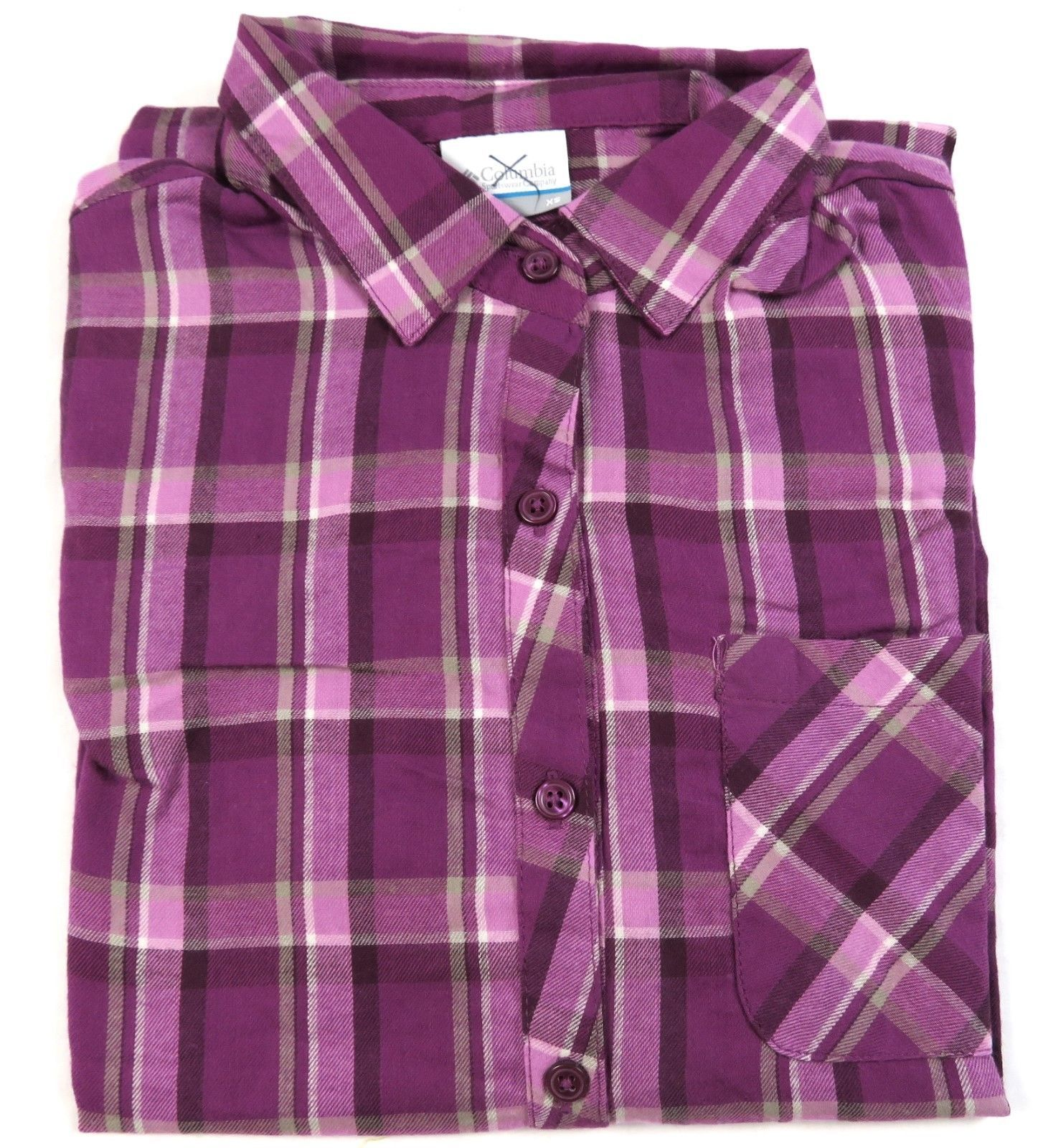 X-Small Columbia Women's Shirt Flannel Pullover Purple Dahlia Plaid