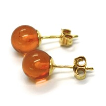 SOLID 18K YELLOW GOLD LOBE EARRINGS, ORANGE AMBER 8 MM SPHERES BUTTERFLY CLOSURE image 2