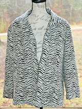 Chico's Size 3 Travelers Collection Brown & White Zebra Animal Jacket NW... - $37.99