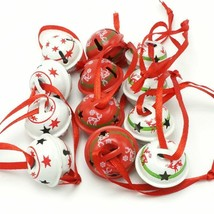 Christmas Metal Jingle Bells With Star Design Red White Xmas Tree Hangin... - €9,24 EUR