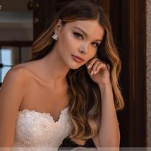 New Vintage Celeb Fashion Removable High Neck Long Sleeve Bolero A Line Lace Bea image 4