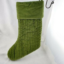"Pottery World Christmas Stocking 19"" Quilted Cotton Velvet Green No Mono... - $23.38"