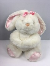 "Vtg 1989 Commonwealth Plush Bunny Pink Bow Gathered Hands 13"" Rabbit - $41.58"
