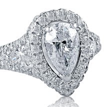 2.12 Carat F/VS1 Pear Shaped Diamond Engagement Ring Split Shank 18K Whi... - £3,735.20 GBP