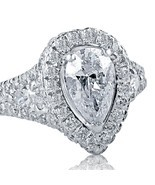 2.12 Carat F/VS1 Pear Shaped Diamond Engagement Ring Split Shank 18K Whi... - $4,652.01