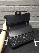 AUTHENTIC CHANEL BLACK CAVIAR QUILTED JUMBO DOUBLE FLAP BAG GOLD HARDWARE image 4