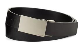 Calvin Klein Men's Reversible Plaque Buckle 32mm Genuine Leather Belt 75537 BBK