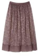 Victoria's Secret Very Sexy Sheer Floral Lace Midi Skirt Half Slip L Cocoa Gray - $29.11