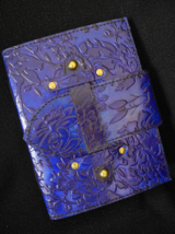 Handmade Blue Leather Journal - Pages of DECKLED Handmade Cotton Paper - $35.00