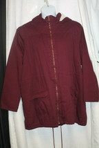 NEW WOMENS PLUS SIZE 3X BURGUNDY WINTER COAT WITH HOOD AND FAUX FUR LINING - $31.34