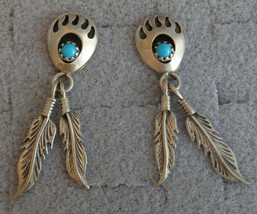 VTG Running Bear Claw Turquoise Dangle Feather Post Earrings Sterling Silver - $24.99