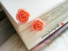 Hypo-Allergenic Peach Rose Stud Earrings Surgical Steel Earrings Rose Po... - $26.00