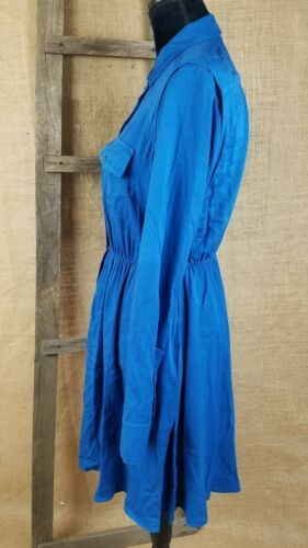 Maeve Anthropologie women small blue dress roll tab sleeve buttons front