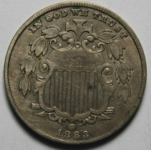 1883 SHIELD NICKEL 5¢ COIN Lot# MZ 4198