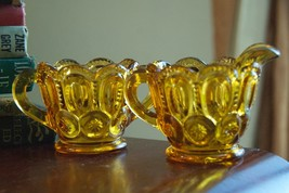 LE SMITH CREAM PITCHER SUGAR BOWL W/ HANDLES  AMBER YELLOW GLASS VINTAGE... - $29.99