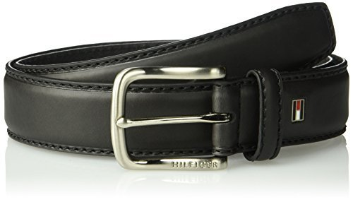 Tommy Hilfiger Men's Leather Stitch Belt with Engraved Logo,Black,42
