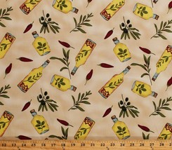 Cotton Twill Lite Olive Oil Bottles Mediterranean Kitchen Fabric by Yard... - $7.97