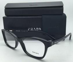 New PRADA Eyeglasses VPR 05P 1AB-1O1 52-18 Black Cat-Eye Frames with Demo Lenses