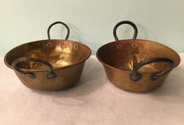 Lot of 2 Vintage Antique Copper Brass Dented Patina Pot Planters With Ha... - $53.99
