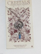 """Vintage Pewter Necklace Crystals Cherub Angel Blue Stone Lead Free 24"""" Chain Usa - $9.87"""