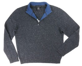 New Bloomingdales Thick 100% Cashmere Charcoal Neptweed 1/2 Zip Sweater Sz M - $44.52