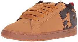 DC Men's Court Graffik SE Skate Shoe, Wheat/Turkish Coffee, 10 Medium US