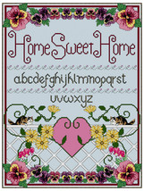 Home Sweet Home Sampler with Pansies and Cats Cross Stitch / Needlepoint... - $6.95