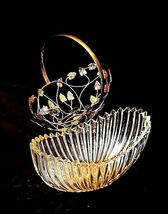 Heavy Glass Basketwith Metal Carrier with handle / Leaf DesignAA18-11912 Vint image 10