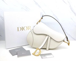 BRAND NEW Authentic Christian Dior White Saddle Trotter Leather Shoulder Bag  image 2