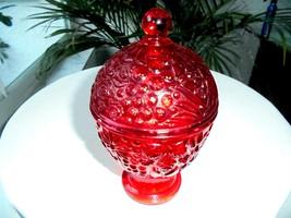 "Avon Ruby Red  6"" Covered Jar Trinket Box - $11.88"