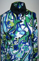 Cobalt Blue White and Green Floral Swirl Lycra Stretch Ity Fabric 1 Yd 18 Inches - $36.00